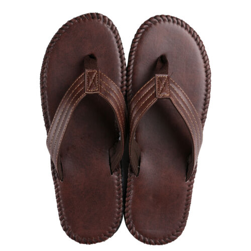 Brown Anti-Slip en Cuir Men/'s Thong Tongs Été Plage Sandales Chaussures 9-10