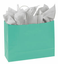 Paper Shopping Bags 25 Turquoise Blue Retail Merchandise 16 X 6 X 12