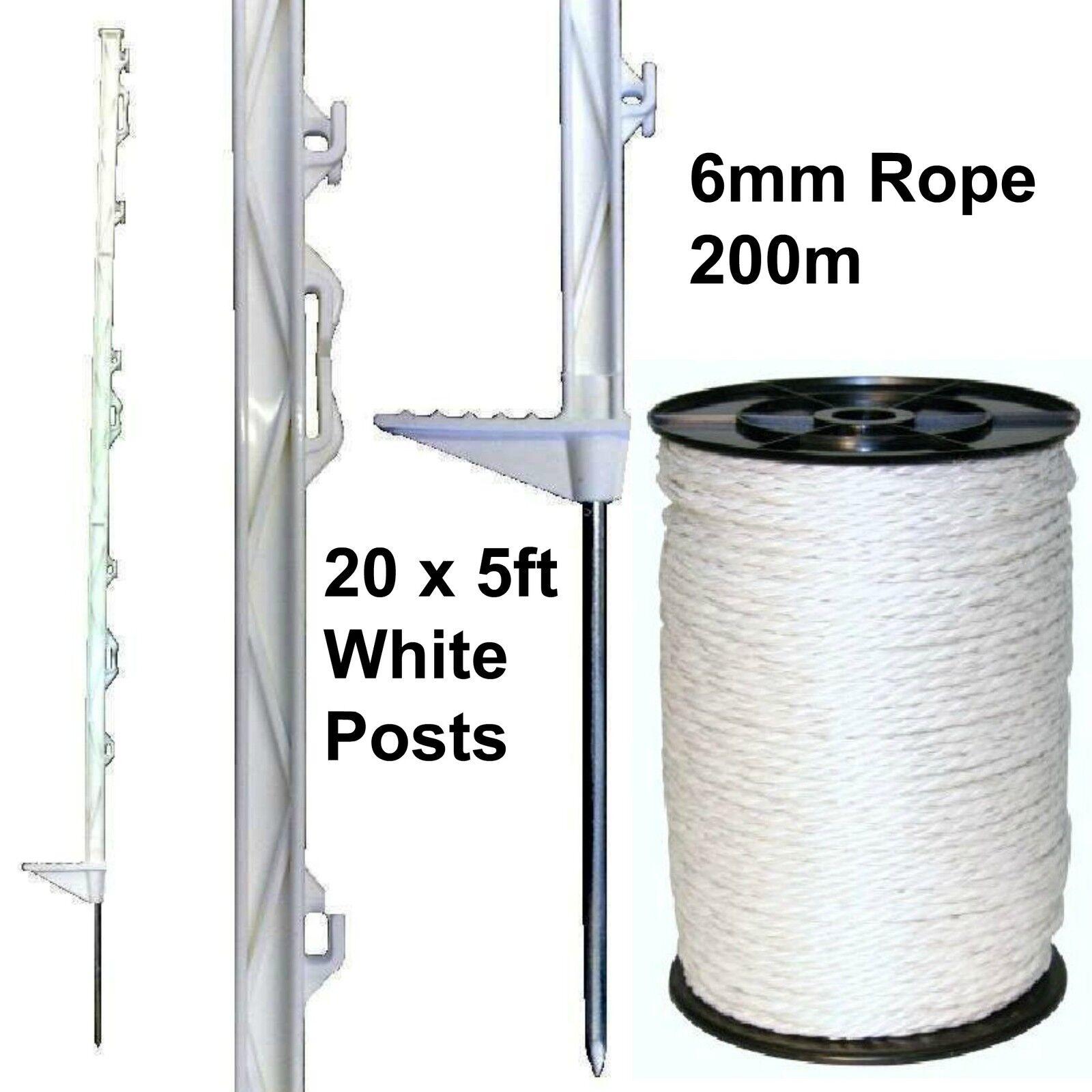 20 X blancoo 5 Pies puestos & 6mm  Poly Cuerda Eléctrica Fence Esgrima Caballo Paddock  artículos novedosos