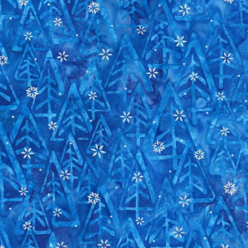 Noel 5 Christmas Tree Blue Metallic Snow Batik Fabric Robert Kaufman YARD
