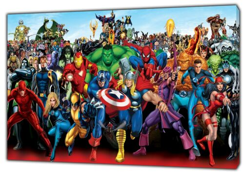 MARVEL SUPERHEROES CHARACTERS PHOTO//PICTURE  PRINT ON FRAMED CANVAS WALL ART