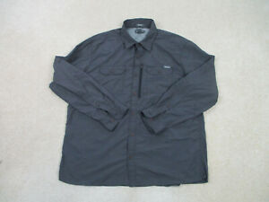 Eddie Bauer Button Up Shirt Adult Large Gray Long Sleeve Casual Camp Mens