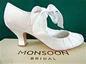 New-MONSOON-UK-4-Ivory-Lace-BETSY-Satin-Ribbon-Bridal-Wedding-Mary-Jane-Shoes