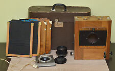 Vintage FKD 18x24cm Wooden Camera with Industar-37 Lens, 4x Cassettes & Shutter!