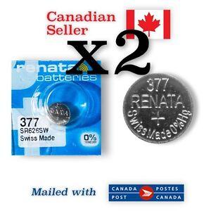 377 x 2 NEW! Renata Silver Oxide Batteries 1.55V - 376, SR66, SR626SW, S32