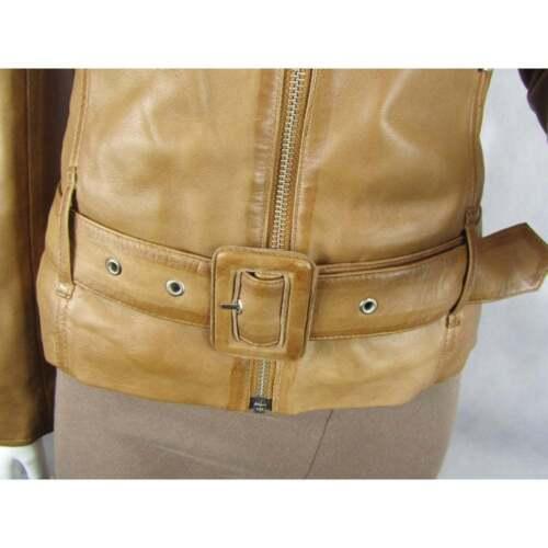 Tight Biker Napa Tan Jacket Fashion Leather Rock Fitted Slim Ladies Short Bike 5RO0wqIqx