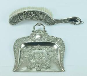 Kehrschaufel Besen Tischset in 800 er Silber Jugendstil Antik  1880 Handarbeit
