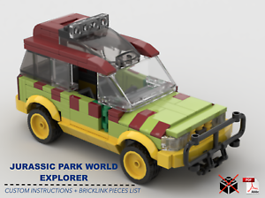 Jurassic-Park-World-Explorer-Car-CUSTOM-INSTRUCTIONS-ONLY-for-LEGO-Bricks