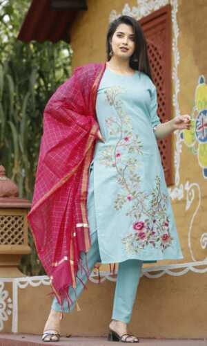 Women Indian Designer Palazzo Kurta Set Chanderi Dupatta Salwar Kameez Readymade