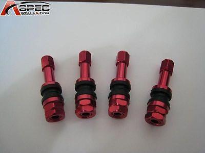 4 X BOLT ON RED ALUMINUM TUBE LESS VALVE STEMS WITH DUST CAPS SET
