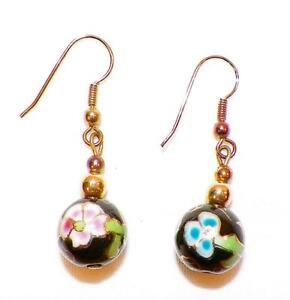 Cloisonne-Earrings-Pink-amp-Blue-Flowers-Pierced-Ears