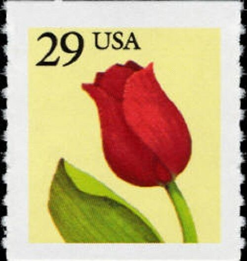 1991 29c Red Tulip, Coil, Rouletted Scott 2525 Mint F/V