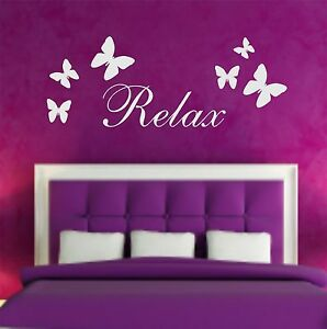 Relax Butterfly Wall Art Sticker Bedroom Bathroom Decor Stickers