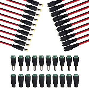 Macho + Hembra DC Power Jack Enchufe Adaptador de conector 2.1 X Led De Audio 5.5mm Cctv