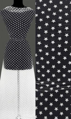 9,40 €//m Sterne Sternchen Muster ecru 50cm STOFF Tüll elastisch