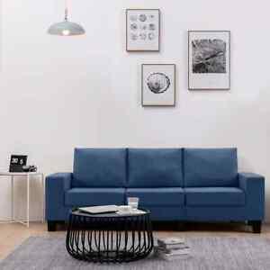 vidaXL Canapé à 3 Places Bleu Tissu Sofa Salon Salle de Séjour Intérieur