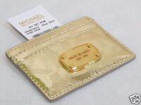 Michael Kors Signature Metallic Mirror Card Case Holder Light Gold Newgift