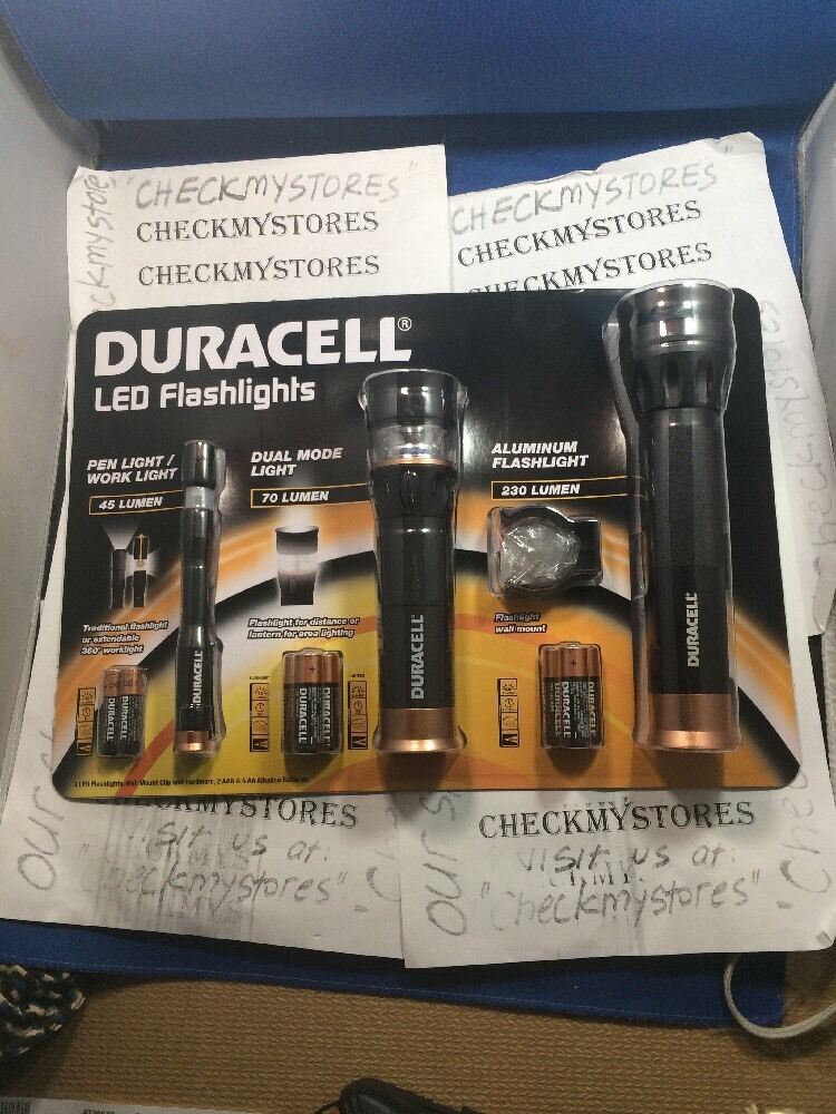 New Set Of 3 Duracell  LED Flashlight Set Pen/Dual Mode/Aluminum +batteries