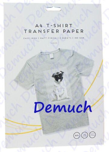 2 PACK A4 IRON ON T-SHIRT TRANSFER PAPER FOR LIGHT FABRICS FOR INKJET PRINT