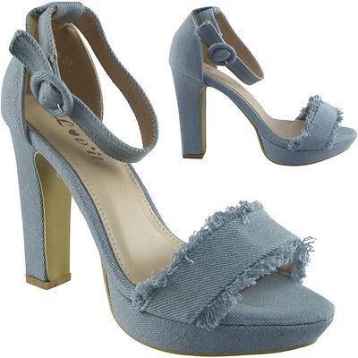 Mujer señoras y Correa en el tobillo de plataforma taco de bloque de alto fiesta Denim Sandalias Zapatos Siz
