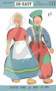 Reproduction-Vintage-Dutch-Girl-and-Boy-Dolls-Sewing-Pattern