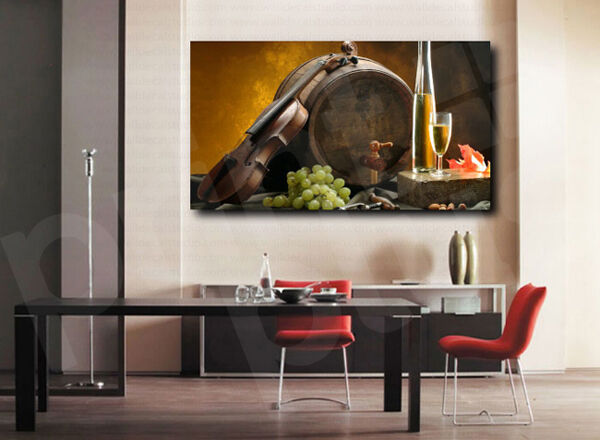 Weiß Wine Bottle Barrel Grapes Violin Canvas Print Kitchen Home Wall Decor