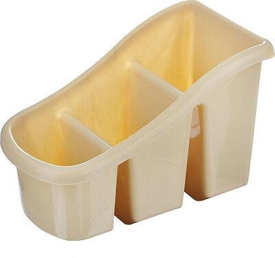 ALONGB Soporte para Utensilios Caddy Cubiertos Cubiertos Soporte para Cubiertos Escurridor de Cubiertos con 3 Compartimentos Organizador y escurridor de Utensilios de Cocina Negro