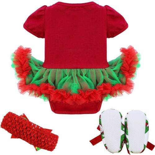 US Infant Baby Girls Christmas Outfits Xmas Party Romper Tutu Dress Set Costumes