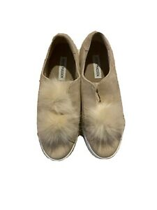 Steve Madden Beige Pom Pom Fur Sneakers