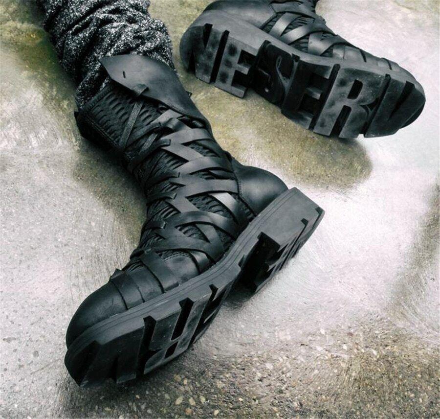 botas Negras Para Hombre, botas De Cuero Genuino, Negro Para Hombre Bota De Desierto italiano