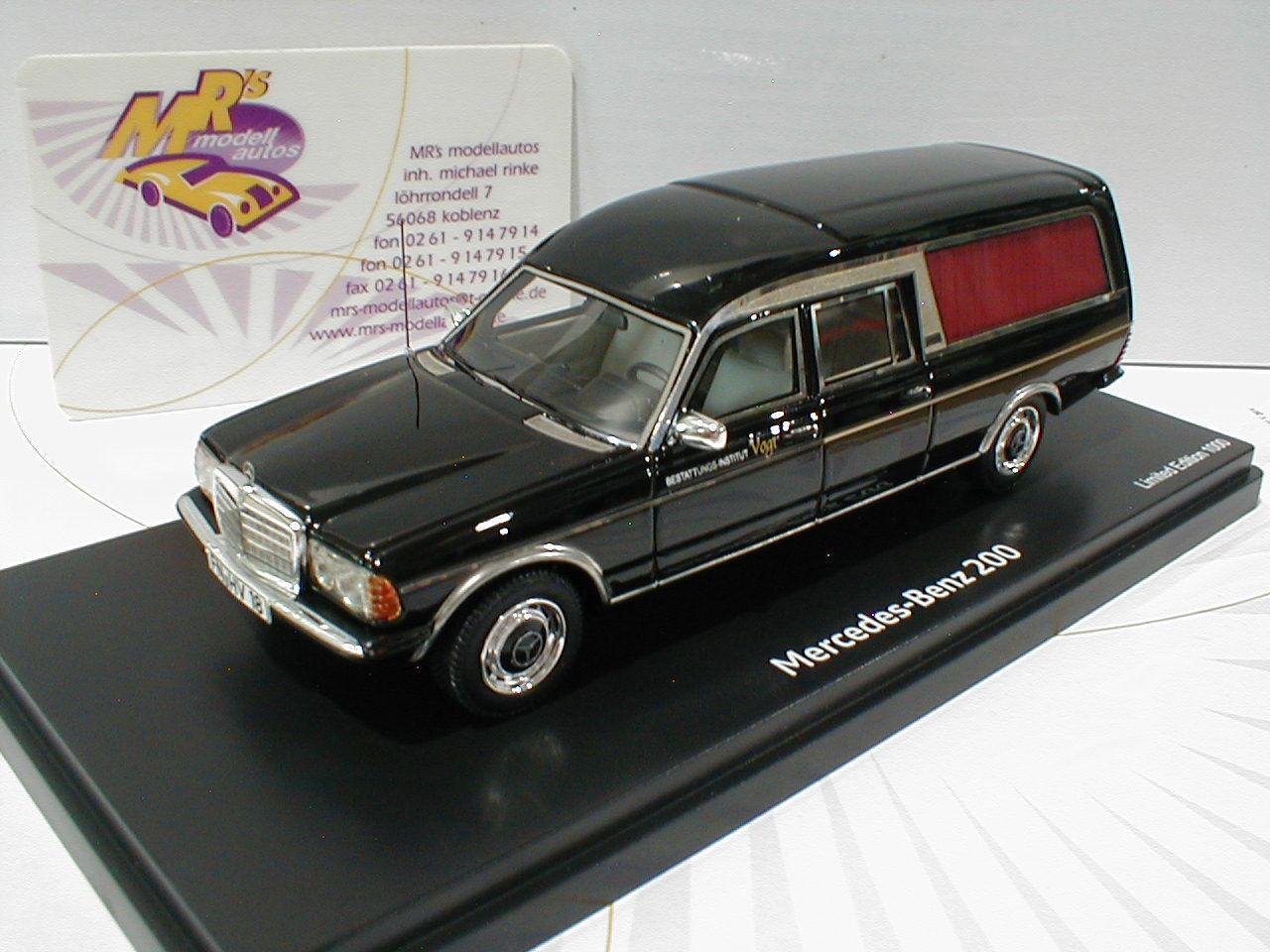 Schuco ProR 08907   Mercedes Benz 200 W123 Bestattungswagen schwarz 1 43 NEUHEIT  | Smart