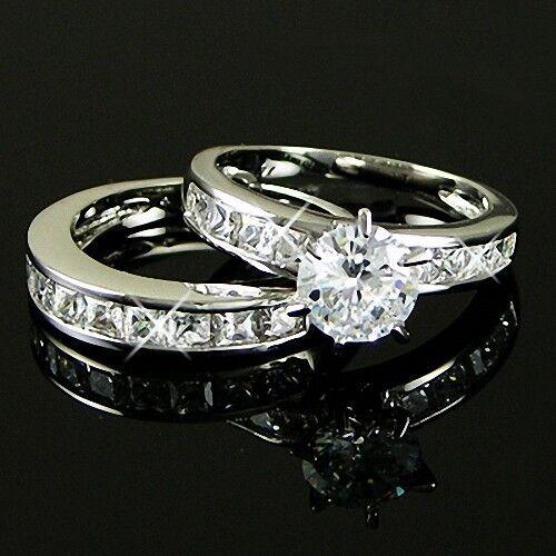 White Gold p Engagement lab Diamond Wedding Band Anniversary Ring Set Sz 5 6 8 9