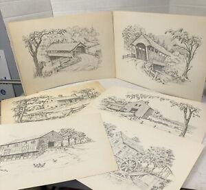 Jay Killian's Signed Pencil Drawings Art Prints 6 Drawings Bridge & Farm Vintage