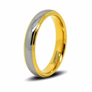 Womens Tungsten 24ct Gold Wedding Ring Comfort Fit Size L N5 P5