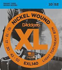 D'Addario EXL140 Cuerdas para Guitarra Eléctrica Luz Superior/Fondo pesado 10-52
