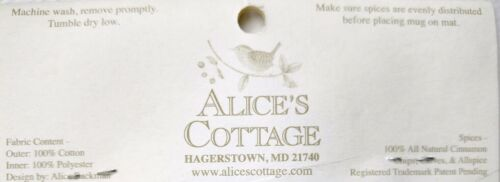 ALICE/'S COTTAGE Cotton Scented Spiced Mug Mat Coaster Patriotic Bouquet USA-NEW