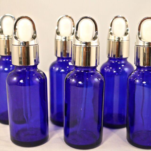1oz Cobalt Blue Glass Bottles w/SILVER BASKET Dropper - Pack of 48, New 2016