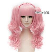 Lolita Pink Short Braid Harajuku Cosplay Wig + 2 Long Curly Ponytails