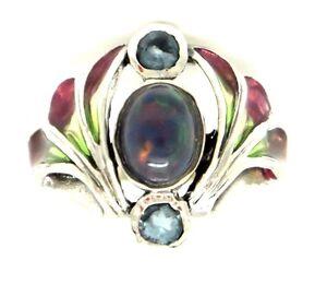 JUGENDSTIL-Ring-Opal-amp-Blau-Topas-925-Sterling-Silber-ART-NOUVEAU