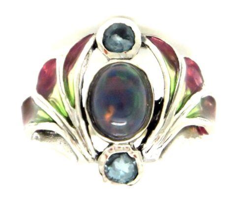 Anillo Opal y azul topacio Jugendstil anillo 925 Sterling plata