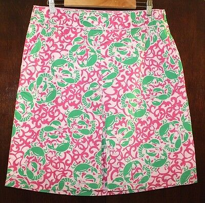 LL Bean A Line Skirt 12 L Crab Lobster Print 100% Cotton Nautical Pink Preppy