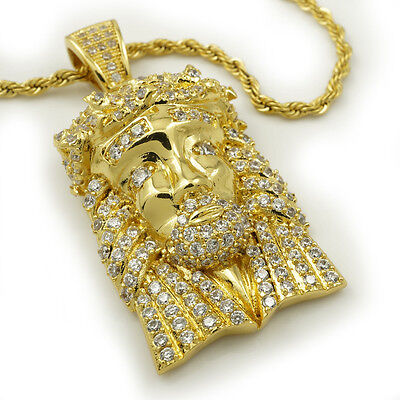 Faux Diamond Micro Gold Plated Jesus in Fully Iced Circle Pendant /& Ball Chain