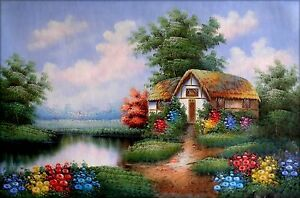 Stretched-Pond-Side-Cottage-III-Hand-Painted-Oil-Painting-24x36in