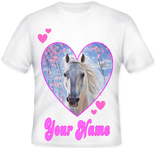 Kids White Heart Horse Fantasy Magical GIRLS Personalised T Shirt Great Gift!
