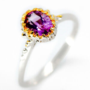 Natural-Amethyst-925-Sterling-Silver-Ring-Gold-10k-Plated-7x5-gem-RVS28