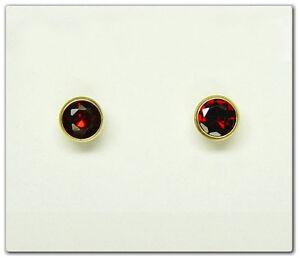 ECHT-GOLD-1-Paar-Granat-Ohrstecker-4-mm