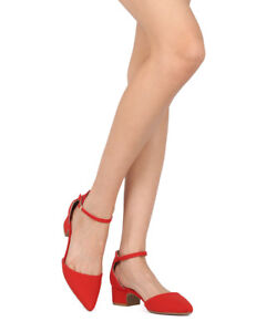 84c28b68158 New Women Qupid Swing-01 Nubuck Pointy Toe d Orsay Ankle Strap Low ...