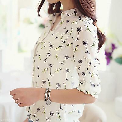 New Women Girl's White Leisure T-Shirt Long Sleeves Casual Chiffon Tops Blouse