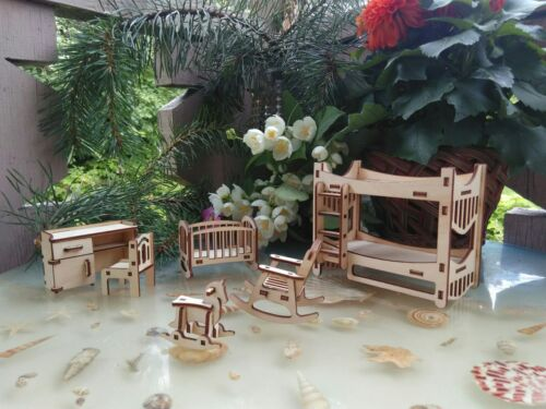 Miniature furniture 112 set of wooden furniture for little doll