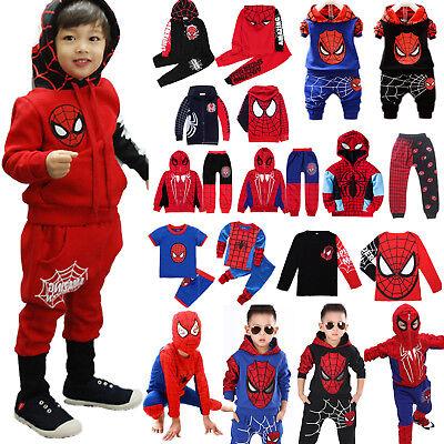 Kids Boy Spiderman Hoodie Jacket Coat T Shirt Pants Tracksuit Outfit Clothes Set